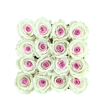 Load image into Gallery viewer, Special Pink Preserved Roses | Square Black Huggy Rose Box - The Only Roses