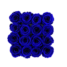 Load image into Gallery viewer, Royal Blue Preserved Roses | Square Black Huggy Rose Box - The Only Roses