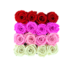 Load image into Gallery viewer, Fading Color Preserved Roses | Square Black Huggy Rose Box - The Only Roses