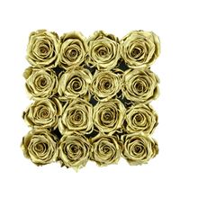 Load image into Gallery viewer, Gold Preserved Roses | Square Black Huggy Rose Box - The Only Roses