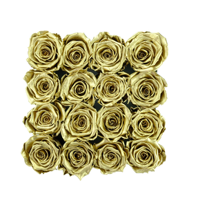 Gold Preserved Roses | Square Black Huggy Rose Box - The Only Roses