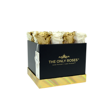 Load image into Gallery viewer, White and Gold Preserved Roses | Square Black Huggy Rose Box
