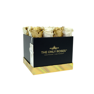 White and Gold Preserved Roses | Square Black Huggy Rose Box