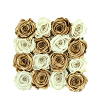 Load image into Gallery viewer, White and Gold Preserved Roses | Square Black Huggy Rose Box - The Only Roses