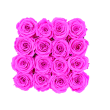 Load image into Gallery viewer, Hot Pink Preserved Roses | Square Black Huggy Rose Box - The Only Roses