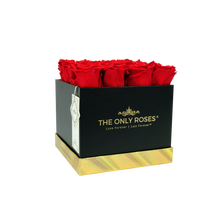 Load image into Gallery viewer, Red Preserved Roses | Square Black Huggy Rose Box - The Only Roses