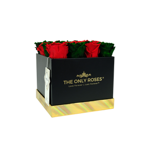 Red and Dark Green Preserved Roses | Square Black Huggy Rose Box - The Only Roses