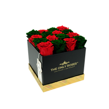 Load image into Gallery viewer, Red and Dark Green Preserved Roses | Square Black Huggy Rose Box - The Only Roses