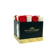 Load image into Gallery viewer, Red and White Preserved Roses | Square Black Huggy Rose Box - The Only Roses