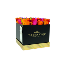 Load image into Gallery viewer, Rainbow Preserved Roses | Square Black Huggy Rose Box - The Only Roses