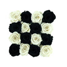 Load image into Gallery viewer, Black and White Preserved Roses | Square Black Huggy Rose Box - The Only Roses
