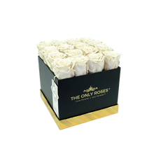 Load image into Gallery viewer, White Preserved Roses | Square Black Huggy Rose Box - The Only Roses