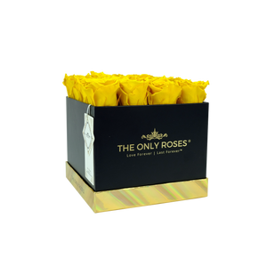 Yellow Preserved Roses | Black Square Rose Hat Box