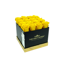 Load image into Gallery viewer, Yellow Preserved Roses | Square Black Huggy Rose Box