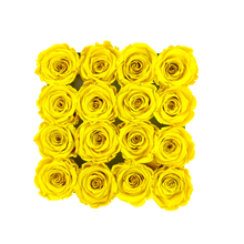 Load image into Gallery viewer, Yellow Preserved Roses | Black Square Rose Hat Box