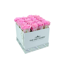 Load image into Gallery viewer, Pink Preserved Roses | Square White Huggy Rose Box - The Only Roses