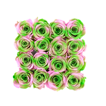 Load image into Gallery viewer, Pink and Green Preserved Roses | Square White Huggy Rose Box - The Only Roses