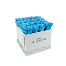 Load image into Gallery viewer, Blue Preserved Roses | Square White Huggy Rose Box - The Only Roses