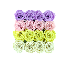 Load image into Gallery viewer, Fading Color Preserved Roses | Square White Huggy Rose Box - The Only Roses