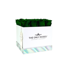 Load image into Gallery viewer, Dark Green Preserved Roses | Square White Huggy Rose Box - The Only Roses