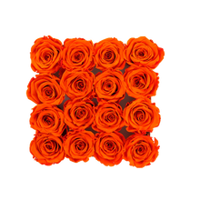 Load image into Gallery viewer, Orange Preserved Roses | Square White Huggy Rose Box - The Only Roses