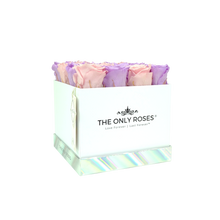 Load image into Gallery viewer, Light Pink and Light Purple Preserved Roses | Square White Huggy Rose Box - The Only Roses