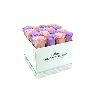 Light Pink and Light Purple Preserved Roses | Square White Huggy Rose Box - The Only Roses