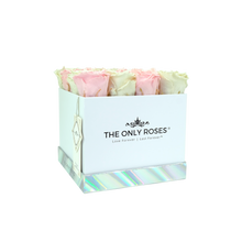Load image into Gallery viewer, Light Pink and White Preserved Roses | Square White Huggy Rose Box - The Only Roses