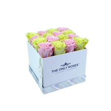 Load image into Gallery viewer, Light Pink and Light Yellow Preserved Roses | Square White Huggy Rose Box - The Only Roses