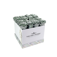 Load image into Gallery viewer, Silver Preserved Roses | Square White Huggy Rose Box - The Only Roses