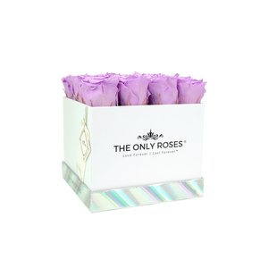 Light Purple Preserved Roses | Square White Huggy Rose Box - The Only Roses