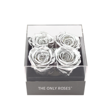 Load image into Gallery viewer, Silver Preserved Roses | Small Square Classic Grey Box - The Only Roses
