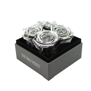 Silver Preserved Roses | Small Square Classic Grey Box - The Only Roses