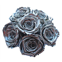 Load image into Gallery viewer, Silver Preserved Roses | Small Black Round Rose Hat Box