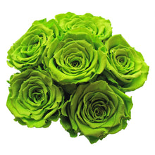 Load image into Gallery viewer, Green Preserved Roses | Small Black Round Rose Hat Box