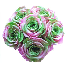 Load image into Gallery viewer, Pink & Green Preserved Roses | Small Black Round Rose Hat Box