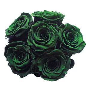 Dark Green Preserved Roses | Small White Round Rose Hat Box