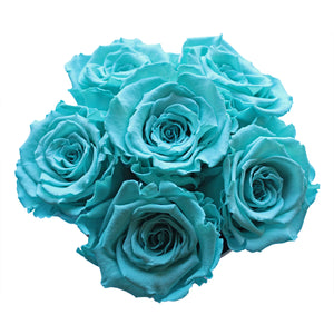 Tiffany Blue Preserved Roses | Small White Round Rose Hat Box