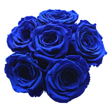Load image into Gallery viewer, Royal Blue Preserved Roses | Small Black Round Rose Hat Box