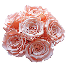 Load image into Gallery viewer, Peach Color Preserved Roses | Small Black Round Rose Hat Box