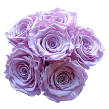 Load image into Gallery viewer, Light Purple Preserved Roses | Small Black Round Rose Hat Box