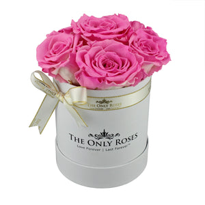 Pink Preserved Roses | Small White Round Rose Hat Box