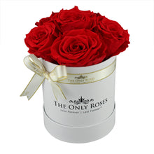 Load image into Gallery viewer, Red Preserved Roses | Small White Round Rose Hat Box