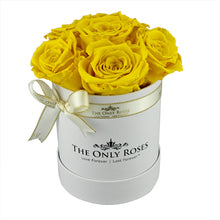 Load image into Gallery viewer, Yellow Preserved Roses | Small White Round Rose Hat Box
