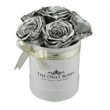 Load image into Gallery viewer, Silver Preserved Roses | Small White Round Rose Hat Box