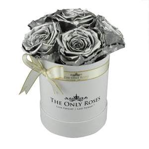 Silver Preserved Roses | Small White Round Rose Hat Box