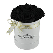Load image into Gallery viewer, Black Preserved Roses | Small White Round Rose Hat Box