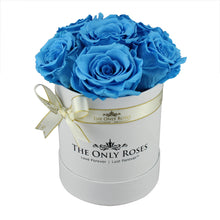 Load image into Gallery viewer, Blue Preserved Roses | Small White Round Rose Hat Box