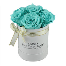 Load image into Gallery viewer, Tiffany Blue Preserved Roses | Small White Round Rose Hat Box