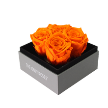 Load image into Gallery viewer, Orange Preserved Roses | Small Square Classic Grey Box - The Only Roses